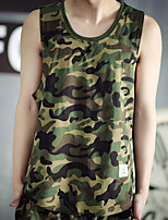 Men's Camouflage Casual / Sport Tank Tops,Cotton Sleeveless-Green