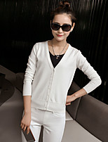Women's Casual/Daily Simple Regular Cardigan,Solid V Neck Long Sleeve Cotton Summer Medium