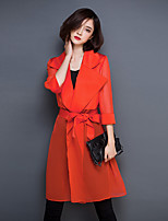 Women's Going out Simple Trench Coat,Solid Peter Pan Collar ¾ Sleeve Spring / Fall Red / Black Polyester Translucent