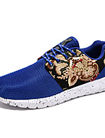 Men's Shoes PU / Tulle Athletic Sneakers Athletic Sneaker Flat Heel Lace-up Black / Blue / Red