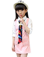 Girl's Casual/Daily Patchwork Dress,Rayon Spring / Fall Black / Pink