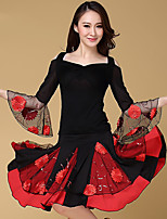Latin Dance Outfits Women's Performance Cotton Embroidery 3 Pcs Black / Light Red 3/4 Length Sleeve Top / Skirt / Shorts