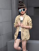Girl's Casual/Daily Solid Trench Coat,Cotton / Rayon Winter / Spring / Fall Green / Pink / Beige
