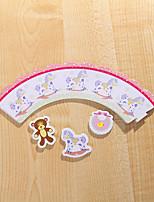 Partito da tavola Accessori decorativi per torte Compleanno Rustico Tema Other Non personalizzato Cartancino Bianco 12Pezzo/Set