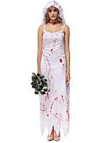 Costumes Zombie / Esprit Halloween / Carnaval / Fête d'Octobre Rouge / Blanc Vintage Térylène Robe