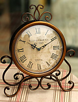 (Random color)Fashion vintage iron desktop clock with silent clock movement crafts home decoration home watch
