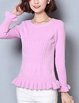 Women's Going out Street chic Regular Pullover,Solid Pink / Gray Round Neck Long Sleeve Acrylic Spring