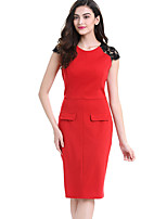 Women's Plus Size / Casual/Daily / Work Street chic Bodycon DressColor Block Round Neck Knee-length Sleeveless