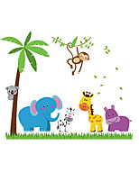 Cartoon Decals Nursery Children's Room Coconut Tree Wall Stickers Animals Zoo Wall Elephant Stickers for Kids