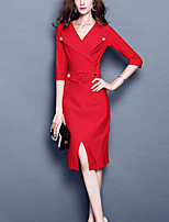 Women's Formal Street chic A Line Dress,Solid V Neck Knee-length ¾ Sleeve Red / Black Rayon / Nylon / Spandex Fall