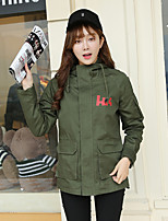 Women's Casual/Daily Simple Trench Coat,Letter Hooded Long Sleeve Fall Black / Green Polyester Medium