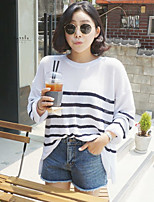 Women's Going out Cute Regular Pullover,Solid / Striped White Round Neck Long Sleeve Cotton / Polyester Summer Medium