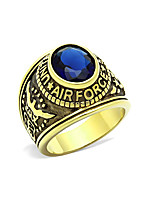 US Air Force Men's Military Rings Stainless Steel 316 IP Gold Plated Montana Main Stone Environmental Material Lead Free