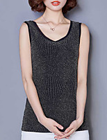 Women's Casual/Daily Simple Regular Cardigan,Solid Black Round Neck Sleeveless Polyester Summer Thin