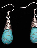 Vintage Ethnic Style Jewelry 2016 Turquoise Earrings Tibetan Silver Water Drop Long Pendant Earrings For Women