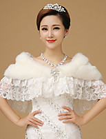 Women's Wrap Capelets Sleeveless Faux Fur White Wedding Scoop 42cm Lace / Tiered Hidden Clasp