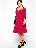 Women's Casual/Daily Simple Sheath Dress,Solid Square Neck Knee-length ¾ Sleeve Red Polyester Fall