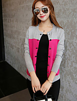 Women's Going out Simple Regular Cardigan,Color Block Red / Black / Orange Asymmetrical Long Sleeve
