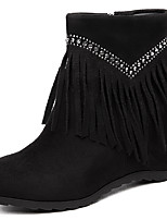 Women's Boots Fall Riding Boots Synthetic Dress / Casual Flat Heel Sparkling Glitter Black / Burgundy Others
