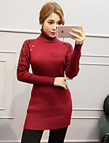 Damen Standard Pullover-Ausgehen Niedlich Solide / Leopard / Patchwork Blau / Rosa / Rot / Braun Rollkragen LangarmBaumwolle / Acryl /