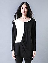 Women's Casual/Daily Simple Spring / Fall T-shirt,Color Block Round Neck Long Sleeve Black Cotton Thin