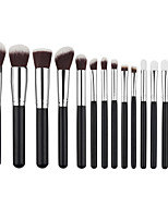 New Arriving 15pcs Silver Synthetic Kabuki Makeup Brush Set Cosmetics Foundation Blending Blush Makeup Tool
