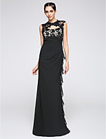 TS Couture® Formal Evening Dress Sheath / Column Jewel Floor-length Chiffon with Lace / Side Draping