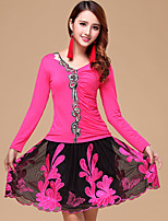 Latin Dance Outfits Women's Performance Cotton / Milk Fiber Embroidery 2 Pcs Fuchsia / Light Red Long Sleeve Top / Skirt