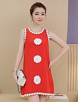 Maternity Casual/Daily Simple Loose Dress,Print Round Neck Above Knee Sleeveless Red / Black Polyester Summer
