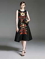 Women's Going out Holiday Sexy Swing Dress,Embroidered Round Neck Knee-length Sleeveless Black Polyester Fall