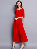 Women's Casual Daily Simple Sheath Dress,Solid Round Neck Maxi ½ Length Sleeve