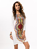 In Farbe Damen Rundhalsausschnitt Lange Ärmel Midi Kleid-5014