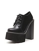 Women's Boots Fall Bootie / Round Toe PU Dress Chunky Heel Lace-up Black / Brown Others
