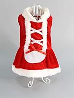 Chien Robe Rouge Hiver / Printemps/Automne Classique / Noël Mariage / Noël / Saint-Valentin / Vacances / Mode, Dog Clothes / Dog Clothing-
