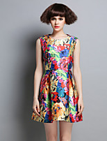 Boutique S Women's Party/Cocktail Cute Skater Dress,Floral / Rainbow Round Neck Above Knee Sleeveless Multi-color Cotton