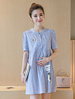 Maternity Casual/Daily Cute Loose Dress,Striped Round Neck Above Knee Short Sleeve Blue / Pink Polyester Summer