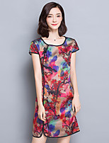 Women's Plus Size / Casual/Daily Chinoiserie Shift Dress,Print Round Neck Above Knee Short Sleeve Red Rayon Summer