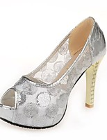Women's Heels Spring / Summer / Fall Heels Polyester Dress Chunky Heel Stitching Lace Silver / Gold Others