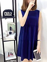 Women's Going out / Plus Size Simple / Cute Loose Dress,Solid Round Neck Above Knee Sleeveless Blue / Red / Green Cotton Summer