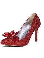 Damen-High Heels-Hochzeit-Kunststoff-Stöckelabsatz-Absätze / Spitzschuh-Rot / Silber