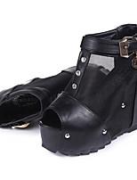 Damen-Stiefel-Lässig-PU-Keilabsatz-Wedges-Schwarz / Weiß