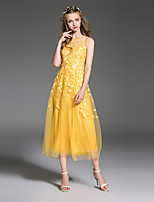 ES DANNUO  Women's Going out Simple A Line Dress,Solid / Geometric Round Neck Midi Sleeveless Yellow Polyester Summer