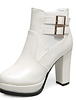 Women's Boots Fall / Winter Heels / Round Toe PU Office & Career / Casual Chunky Heel Buckle Black / White