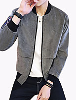 Men's Fashion Personalized Sleeve Decals Letter Printed Stand Collar Outdoor Casual Jacket;Polyester/Plus Size