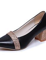 Women's Heels Spring / Fall Comfort PU Casual Flat Heel Bowknot Black / Silver / Gold Walking