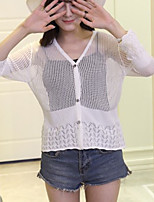 Women's Casual/Daily Simple Short Cardigan,Solid White / Black / Gray V Neck Long Sleeve Polyester Summer Thin
