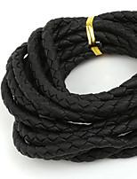 beadia 6mm rond zwart gevlochten pu lederen koord touw string (3mts)