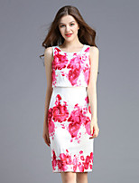 Boutique S Women's Casual/Daily Vintage Shift Dress,Floral Round Neck Above Knee Sleeveless Pink Polyester Summer