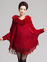 Women's Casual/Daily Vintage Long Cloak / Capes,Solid Blue / Red / Black / Yellow / Purple Wool / Acrylic Winter