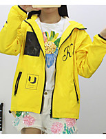 Women's Casual/Daily Simple Trench Coat,Letter Hooded Long Sleeve Fall Yellow Polyester Medium